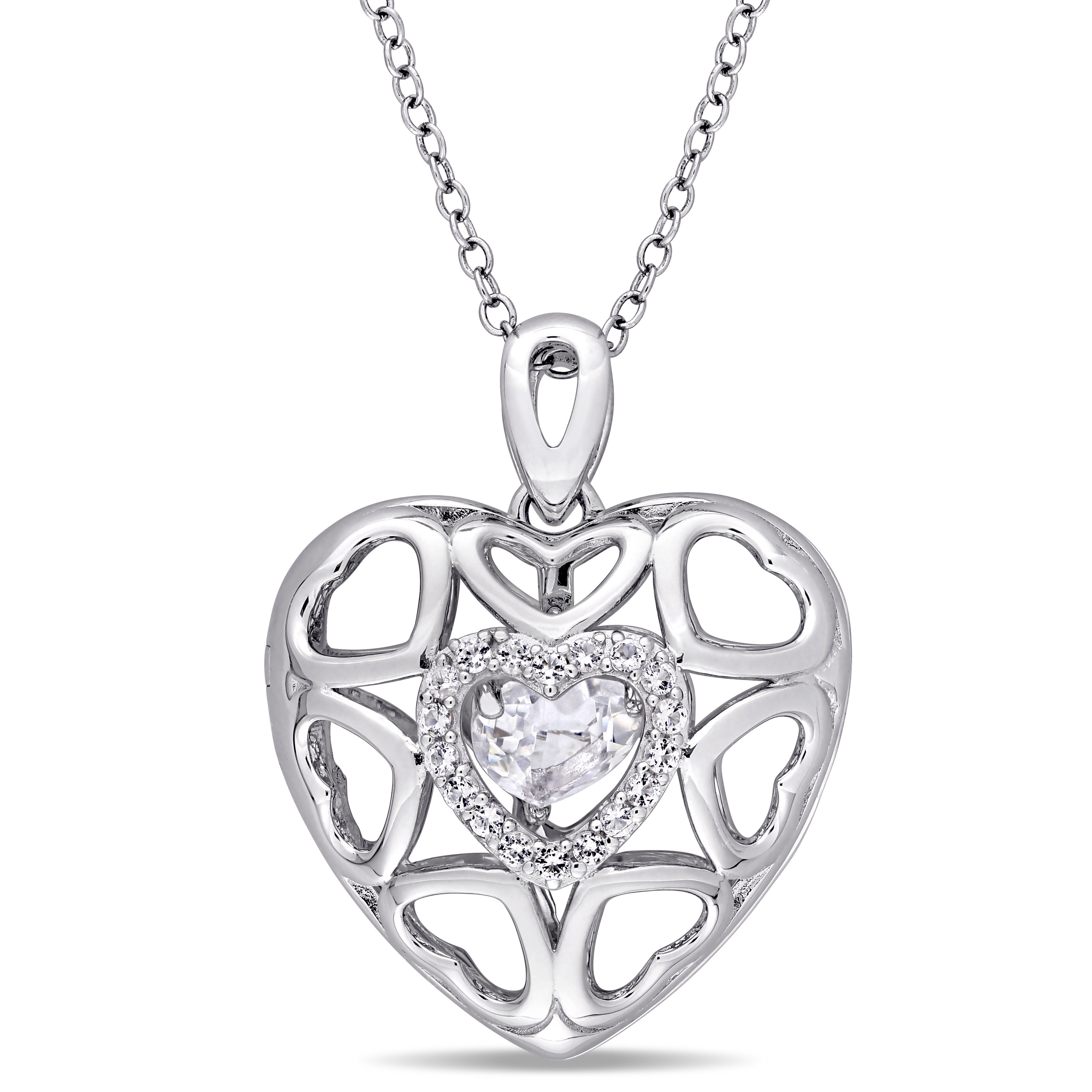 gold heart pendant with pin round open diamond brilliants white necklace