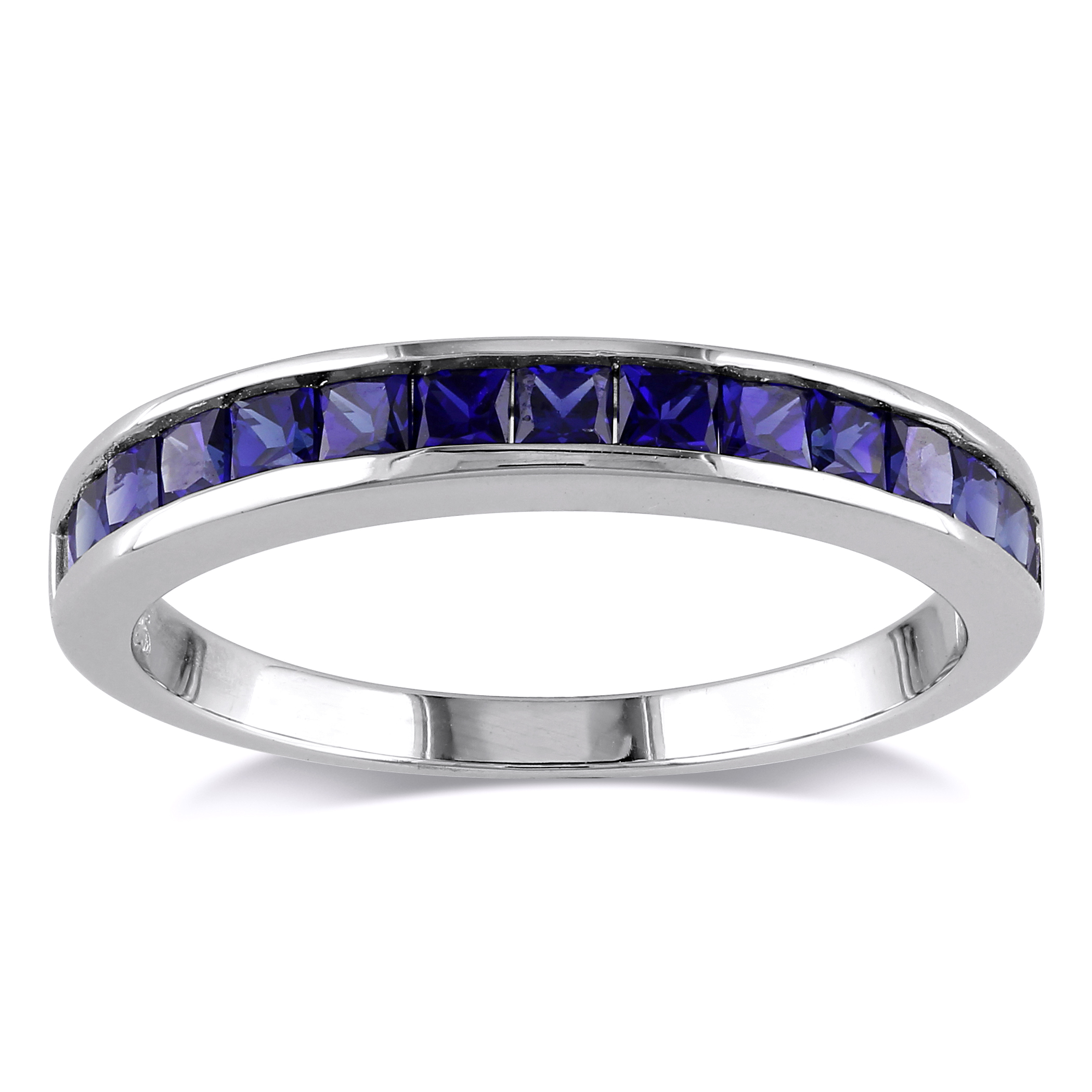 Sterling Silver Created Blue Sapphire Eternity Ring 97