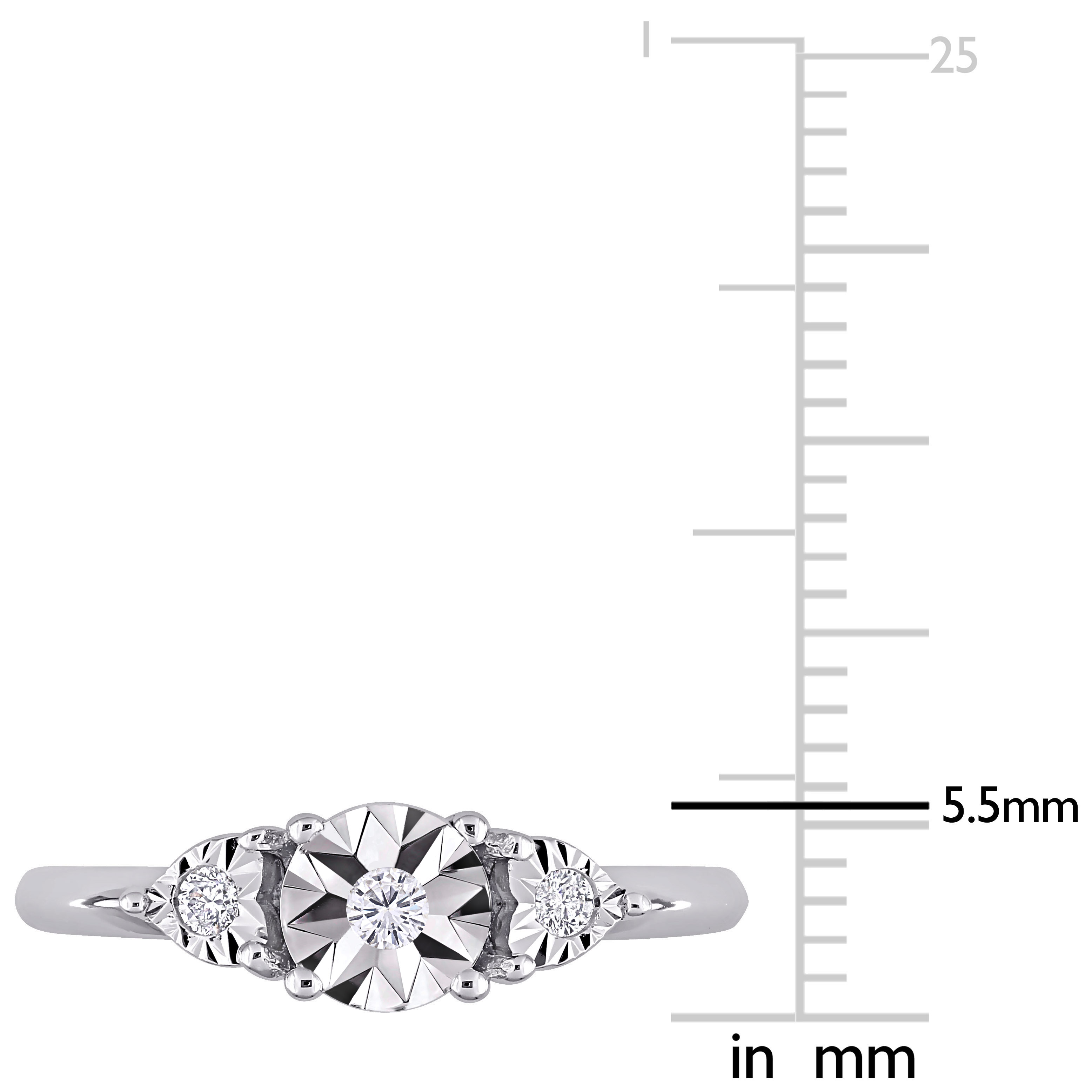 Amour-Sterling-Silver-Diamond-3-Stone-Engagement-Ring thumbnail 3