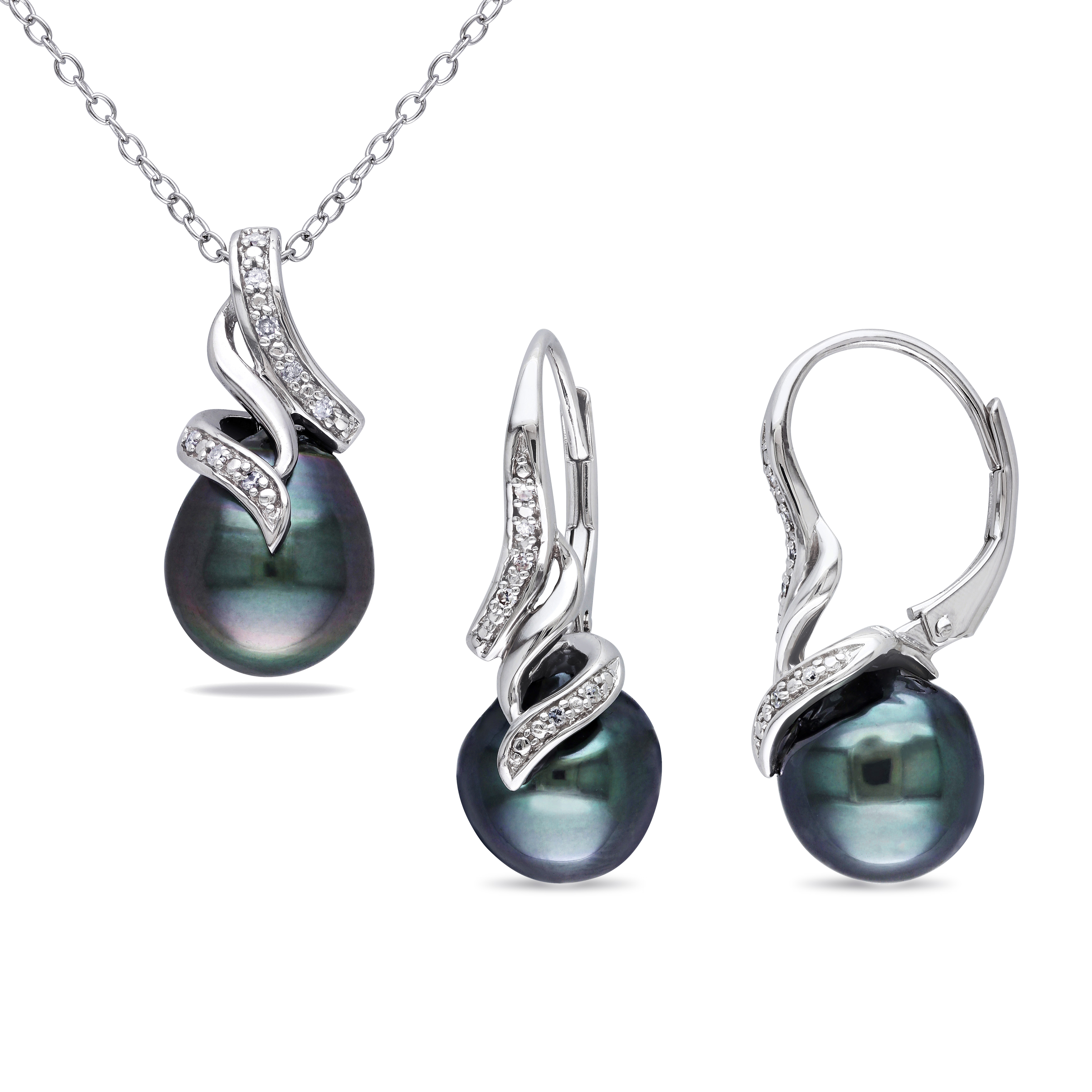 sterling silver tahitian pearl 1 10 ct tdw diamond jewelry. Black Bedroom Furniture Sets. Home Design Ideas