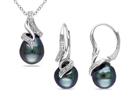Sterling Silver Tahitian Pearl 1 10 Ct TDW Diamond Jewelry Set GH